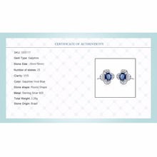 Inlay Royal Sapphire Blue Topaz 925 Sterling Silver Earrings