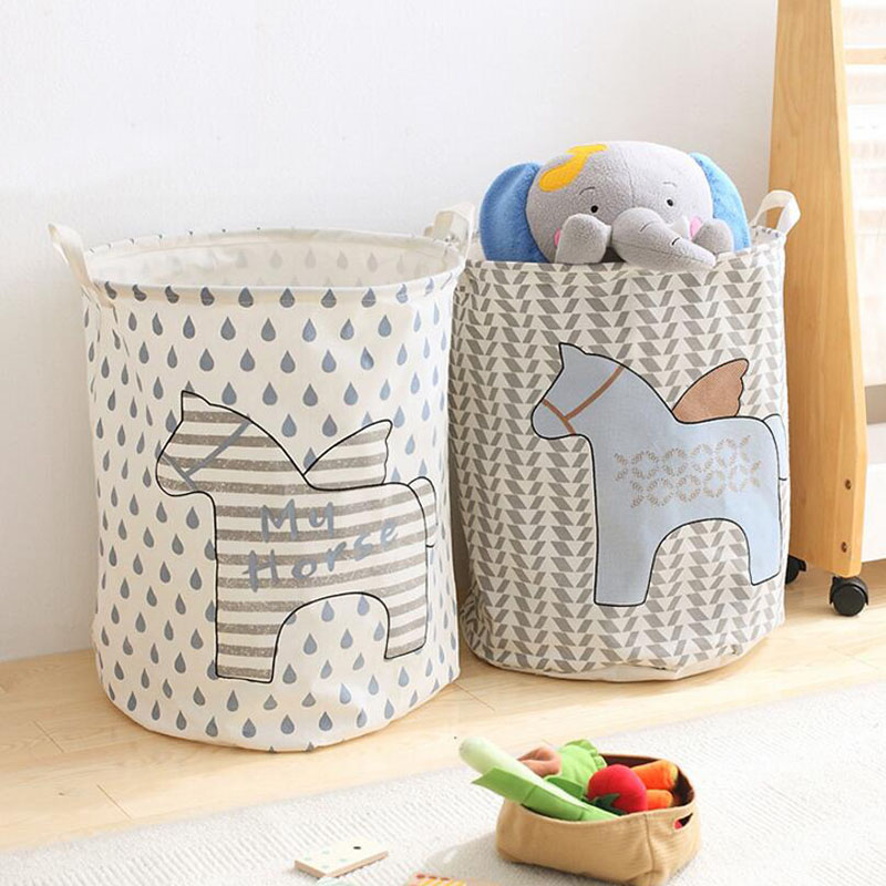 Big Foldable Waterproof Canvas Clothes Laundry Basket Hamper With