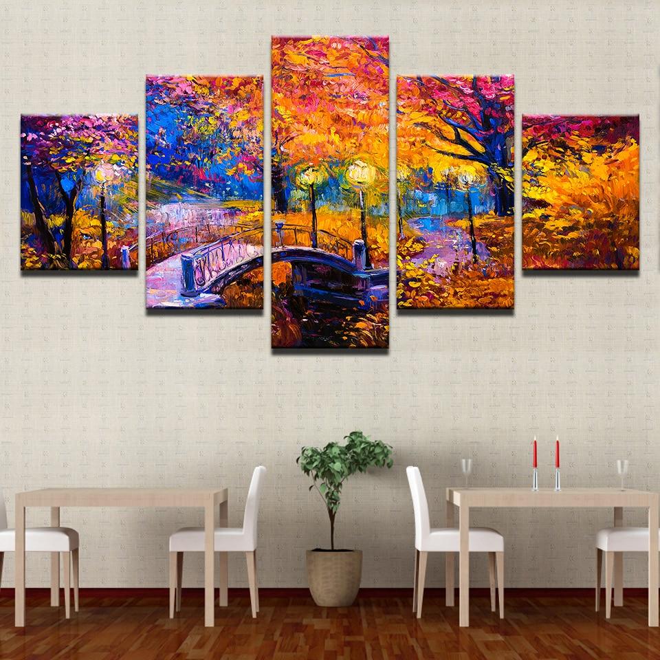 5pcs Diamond Painting cross stitch For Living Room Home Decoration Autumn bridge landscape Forest scenery diamond