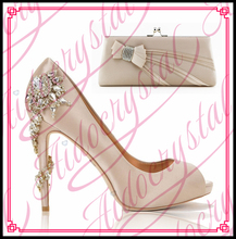 Aidocrystal lovely nude pink elegant peep toe heels italian matching shoes and bags set free shipping