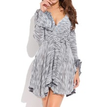 Spring Autumn New Womens Dress Cothing Explosion Models Knitted Irregular Long-sleeved V-neck Sexy Dresses Women Free Shipping