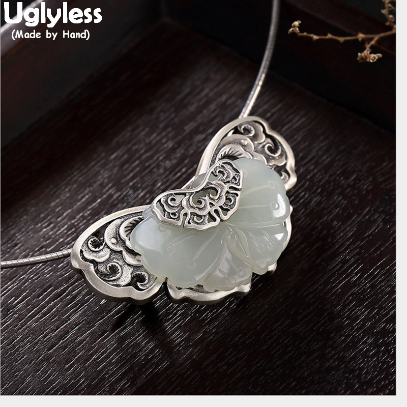 Uglyless Real Solid 925 Sterling Silver Ethnic Hollow Butterfly Brooches for Women Jade Butterflies Pins Dual Use Pendant Bijoux
