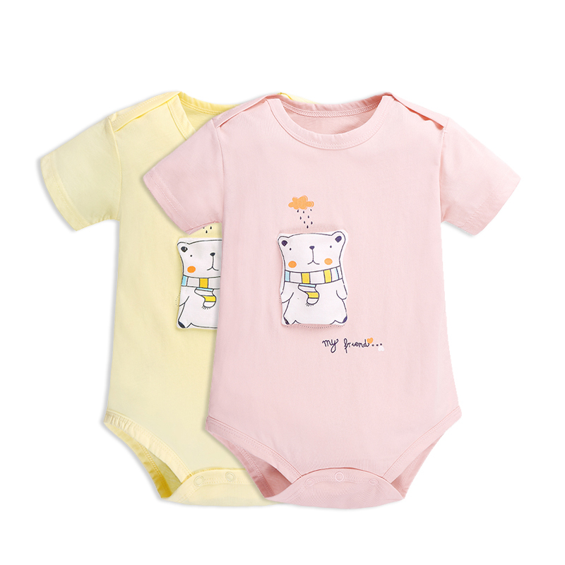 New Summer 2018 Baby For Babies Cartoon Bear Baby Girl/Boy Clothes Short Sleeve Baby Bodysuits 2PCS/Lot Baby Jumpsuit