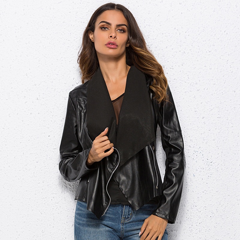 Women PU   Leather   Coat Plus Size Women Jacket Cardigan Open Stitch Turn-down Collar Lapel Jacket Outerwear Punk Motor Jacket 6XL