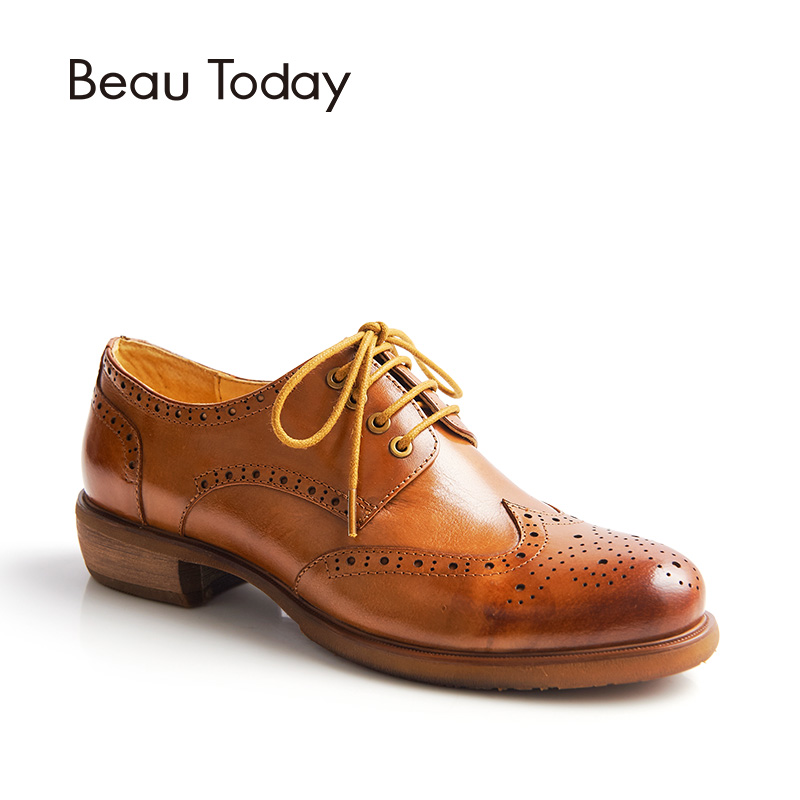 BeauToday Brogue Shoes Women Genuine Cow Leather Casual Dress Lace-Up Retro Wingtip Flats Round Toe Lady Shoes Handmade 21034 top quality england style retro mens cow genuine leather brogue shoes male casual shoes lace up round toe breathable wing tip