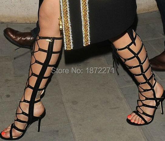 Hot selling cross front lace-up sandal boots women caged suede gladiator boots celebrity gold metal studs pump size 34 to 42 keyhole front caged back bikini set