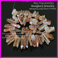 Peach Titanium Quartz Spike Pendant Beads Natural Rough Druzy Champagne Crystal Quartz Point Stick Drilled Briolettes Beads