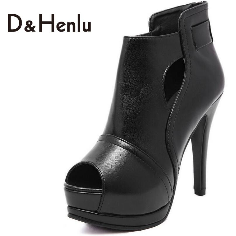 ФОТО {D&H}Summer Style High Platforms Open Toe Breathable Boots Shoes Peep Toe Women High Heels Sandals Woman Heels Black Shoes Women