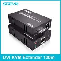 SGEYR 120m DVI KVM Extender 395ft USB KVM DVI Keyboard Mouse IR Extender by RJ45 Cat5e/6 Splitter Support 1920x1080p