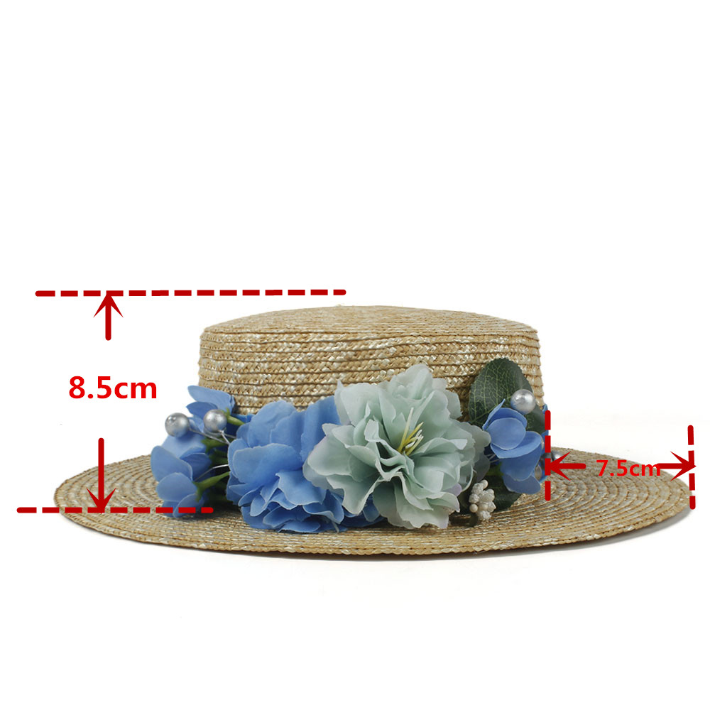 Fashion Women Summer Wheat Straw Sun Hat Lady Beach Wide Brim Flat Boater Hat  With Handmade Blue Flower Size 56 58CM-in Sun Hats from Apparel Accessories  on ... 1da3b84e685a
