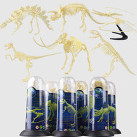 6 pcs/set DIY Assembly Plastic Dinosaurs Skeleton Toys Dino Figures Collectible Model Toys Dinosaur Fossil Toy for Children BOX
