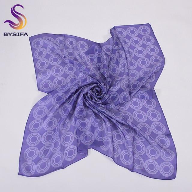 Ladies Thin Silk Scarf Shawl New Design Round Pattern 100% Pure Silk Blue Square Scarves 90*90cm Summer Muslim Head Scarf Cape