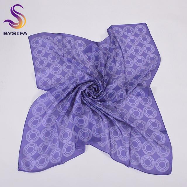 Señoras Bufanda de Seda Fina Patrón Chal Nuevo Diseño Redondo 100% Cuadrado Azul de Seda pura Bufanda Principal Musulmán Bufandas 90*90 cm Verano Cape