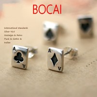 925 Silver Male Female Earrings Thailand Imported A Poker Square Thai Tremella Nail Single New