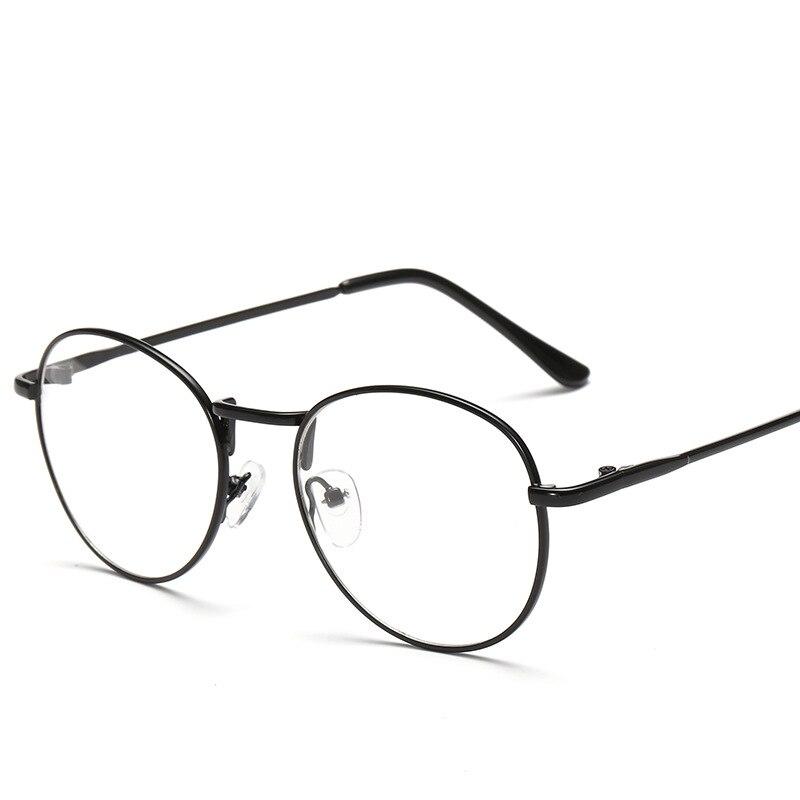 Модные Винтаж Для женщин глаз Очки кадров равнине зеркало литературный Harajuku большой металлической овальная рамка очки Óculos Feminino Masculino