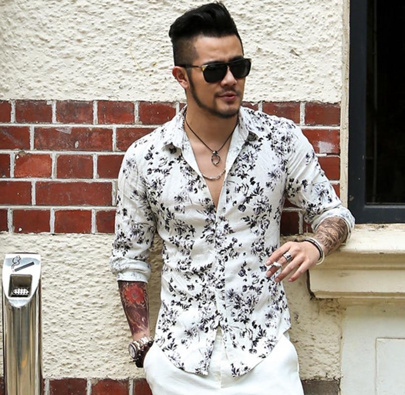 2017 new men summer printed flower shirts men long sleeve for Mens summer linen shirts