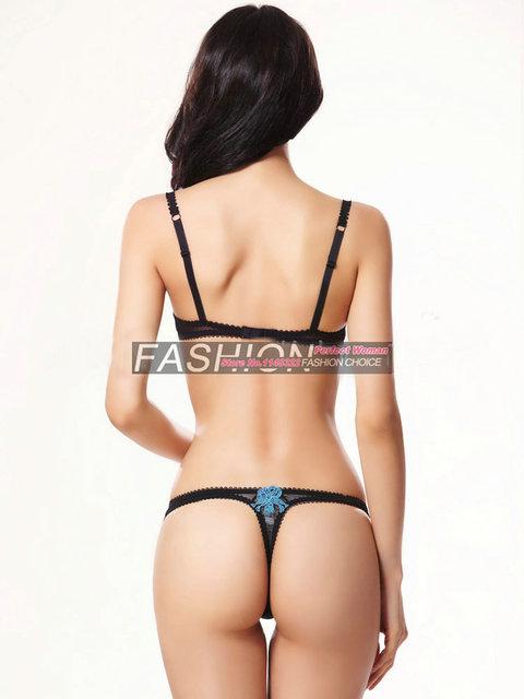 Women sexy Intimates Bra & Brief Sets sexy T-pants romantic temptation lace  Embroidery Underwear bra set lady  bra panty set