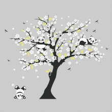 Huge White Cherry Blossom Tree Wall Stickers Decorative Decals Playing Panda