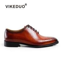 2018 Новый Vikeduo Винтаж ручной работы мужские туфли оксфорды 100% из натуральной кожи на шнуровке Свадебные деловая модельная одежда туфли на оф