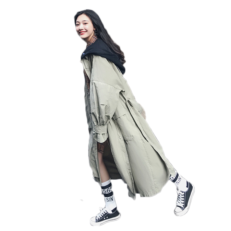 Long temperament bf Casual coat female spring and autumn 2018 Korean loose Long sleeves Hooded   trench   coat