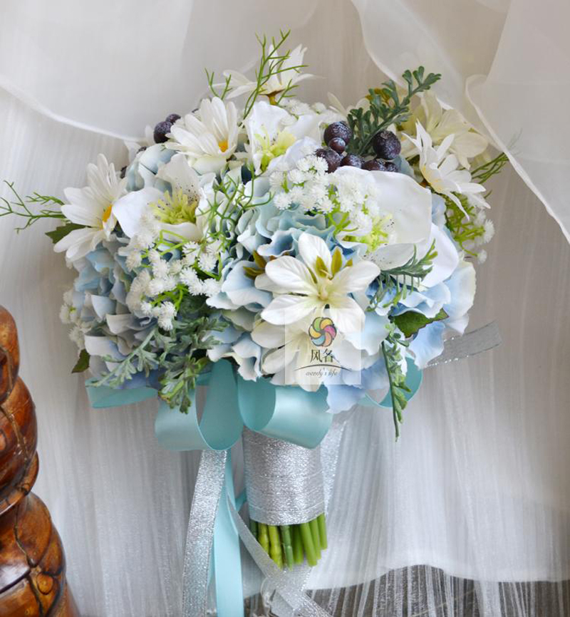 Wedding Bouquets With Blue Flowers: New Wedding Bouquet Flower Floral Bridal Bridesmaid