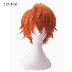 "Image 1 - ccutoo Mystic Messenger 707 saeran 12"" Orange Short Fluffy Layered Synthetic Hair ZEN Yoosung Heat Resistance Cosplay Full Wigs"