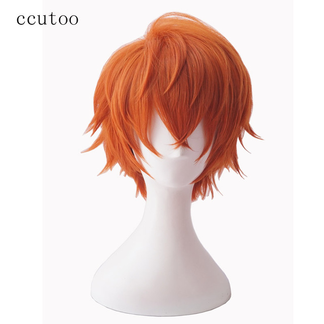 "ccutoo Mystic Messenger 707 saeran 12"" Orange Short Fluffy Layered Synthetic Hair ZEN Yoosung Heat Resistance Cosplay Full Wigs"