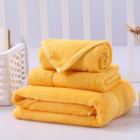 New Bamboo Fiber and Cotton Blend Bathroom Towels Set of 3 Hotel and Spa Bath Towel Hand Towel Washcloth Gold Yellow
