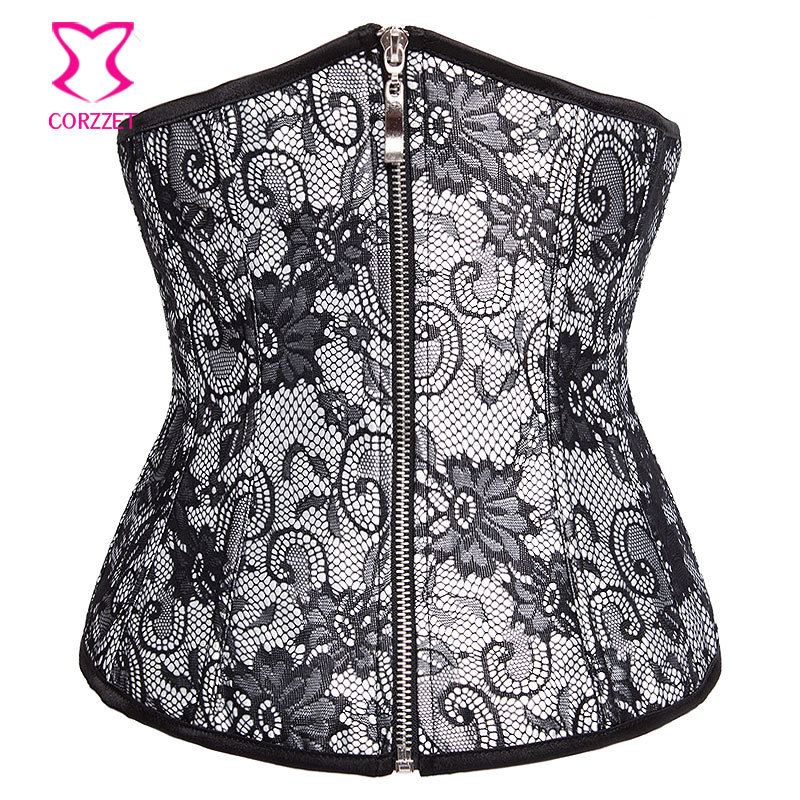 White Satin Overlay Floral Lace Corsetti E   Bustier   Underbust   Corset   Sexy Zipper Waist Trainer Tight Lacing   Corsets   For Women