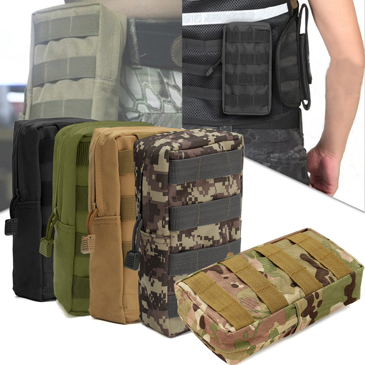 Safurance Nylon Tactical Molle Waist Bag Medical First Aid Utility Emergency Pouch Outdoor Storage Bag Emergency Kits ...