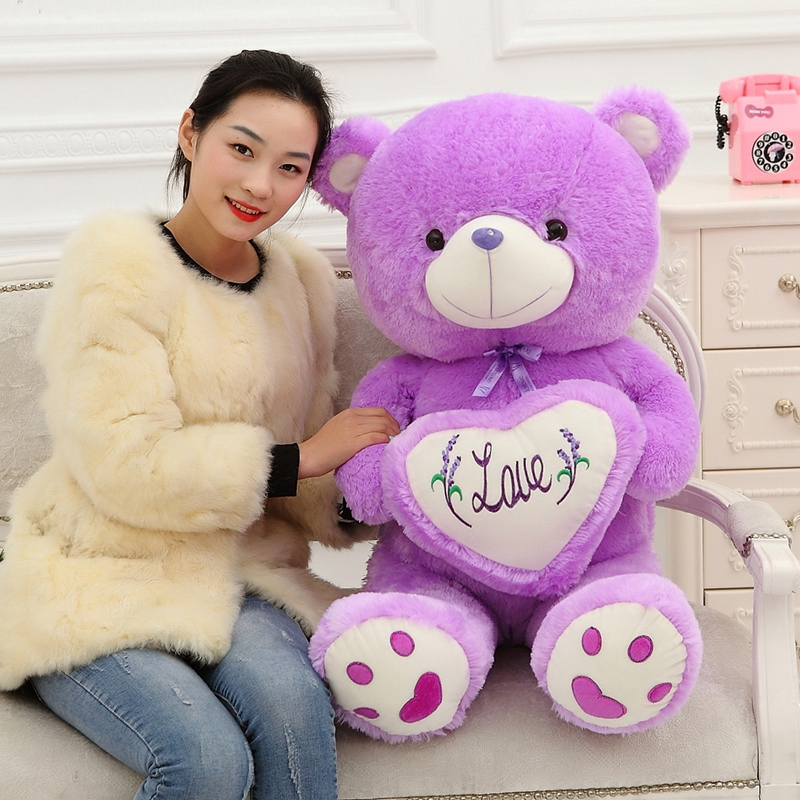 Teddy Bear Soft Doll Plush Toy Purple Love Bear Stuffed Animal Large Creative Bear Hold the Heart birthday gift 50cm&70cm 1pc new plush gentle teddy bear toy creative suit bear doll gift about 50cm