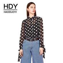 HDY Haoduoyi Polka Dot Chiffon Long Sleeve With Bow Blouse 2018 New Fashion Sweet Notched Collar Mesh Sheer Office Lady Shirts