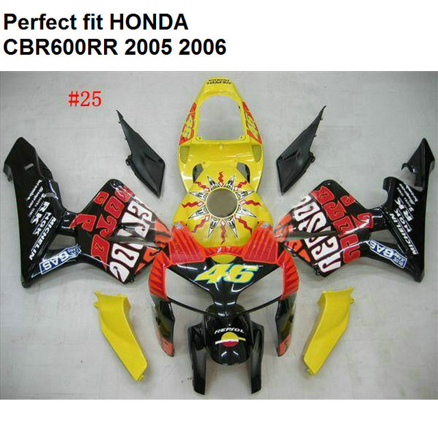 Us 379 0 Aftermarket Body Parts Fairing For Honda Cbr600rr 2005 2006 Yellow Black Fairings Kit Cbr 600rr 05 06 Np51 In Covers Ornamental Mouldings