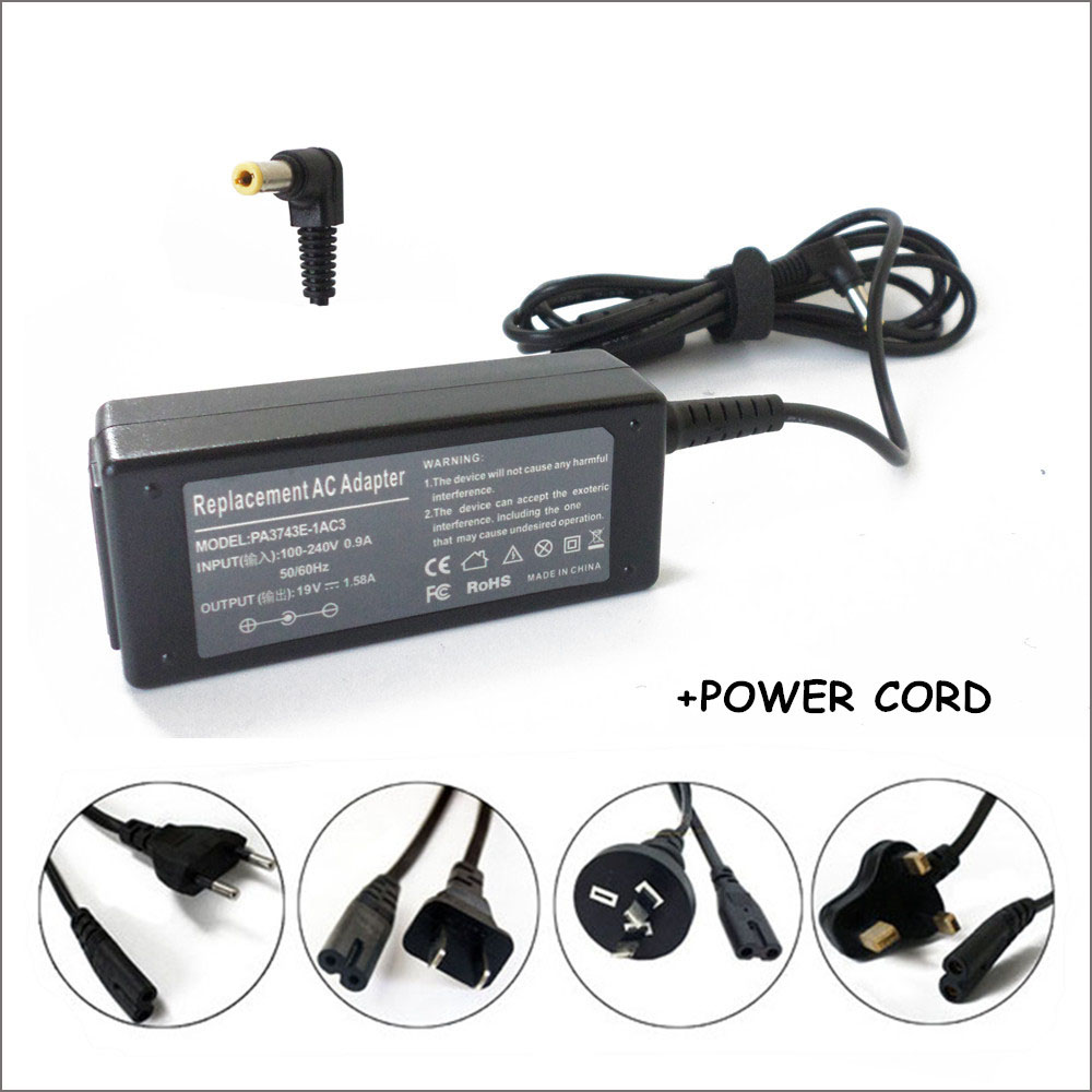 19V 1.58A 30W AC Adapter Laptop Battery Charger Carregador Portatil For Toshiba R33030 <font><b>N17908</b></font> <font><b>V85</b></font> Notebook image