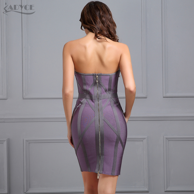 dark Gray Strapless Sleeveless Bodycon Celebrity Runway Bandage Dress Sexy clubwear 2
