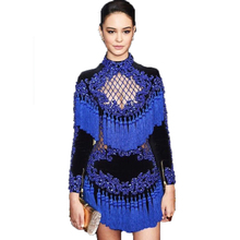 HIGH QUALITY Newest Fashion 2018 BAROCCO Unique Runway Dress Women's Hollow Out Tassel Luxury Manual Hand Beading Dress