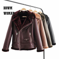 Faux Fur Collar Fashion PU Leather Jacket Warm 4 Color Can Choose Lady 2018 Coat HOT ZO1040