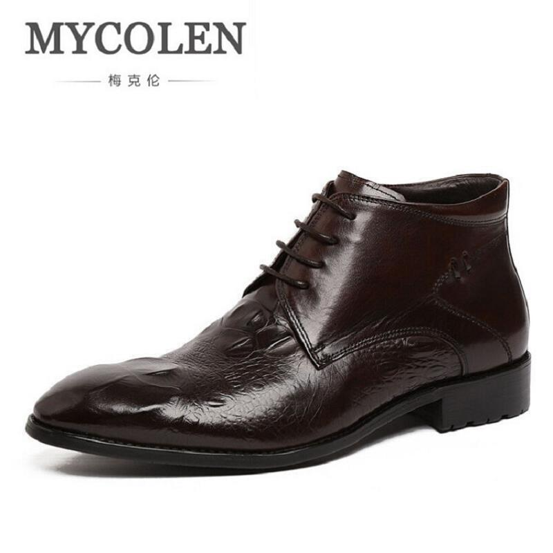 MYCOLEN Genuine Crocodile Leather Boots Round Toe Luxury Casual Ankle Boots Lace up Black/Brown Men Shoes For Wedding Business front lace up casual ankle boots autumn vintage brown new booties flat genuine leather suede shoes round toe fall female fashion