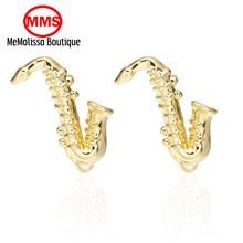 MeMolissa Formal Golden Sax Cufflink for Mens Suits Buttons Geometric Wedding Cufflink French Grooms Shirt Brand Cuff Links