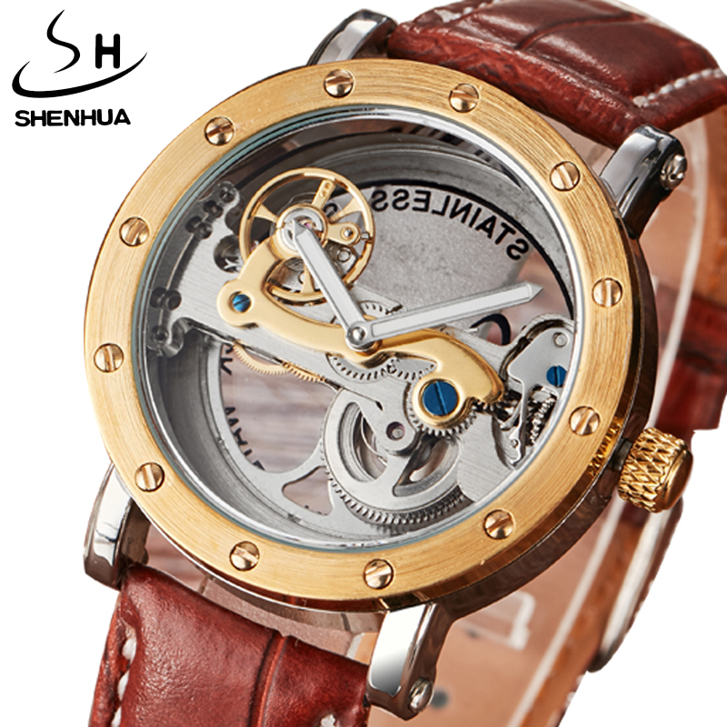 Automatic Mechanical Watches Men Brand Luxury Golden Case Leather Band Full Steel Skeleton Transparent Watch relogios masculino