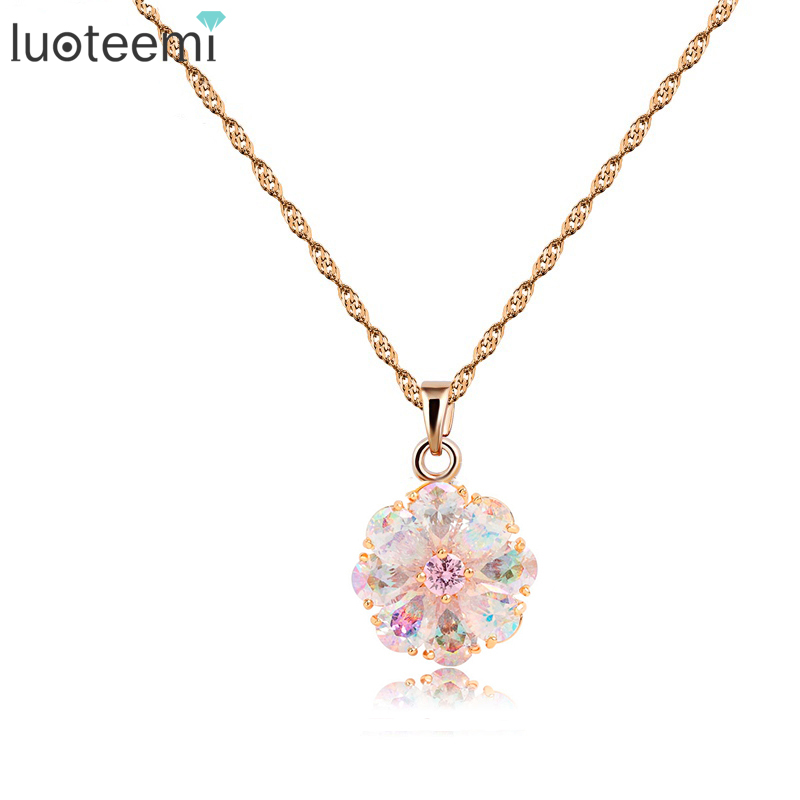 LUOTEEMI Wholesale Fashion Rainbow Crystal CZ Pendant Necklace Trendy   Gold-Color Zircon Necklaces for Women Classic Designs