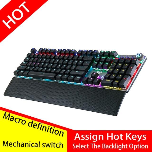 AULA PC メカニカルキーボード 104 キー USB ミックス Led バックライトのための黒、青、赤スイッチロシア語スペイン語ヘブライ語、アラビア語ゲームキーボード