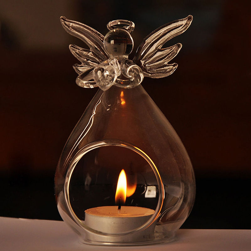 Hot Sale Fashion Creative Angel Glass Crystal Hanging Tea Light Candle Holder Home Room Party Decor Candlestick Storage Holders image