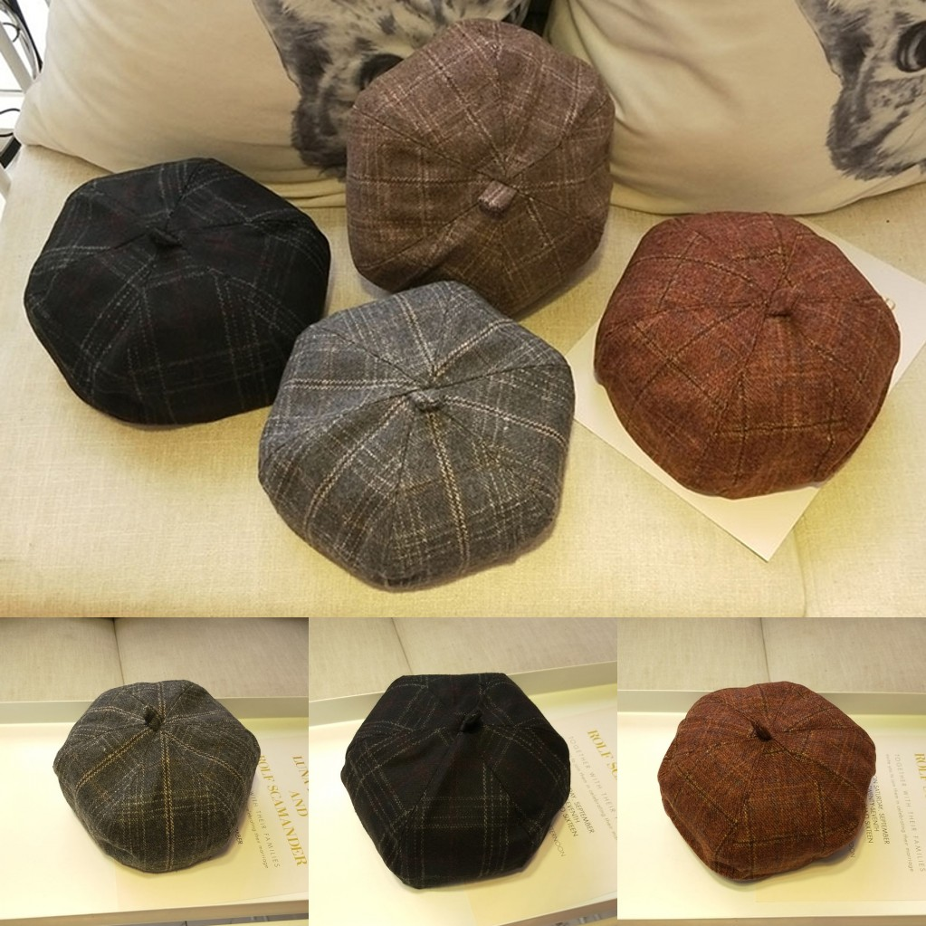 2019 New 4 Colors Warm Male Female Beret Octagonal Cap Autumn Winter Casual Plaid Hat Fashion Art Newsboy Hat For Women Men muñeco buffon