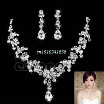 New Rhinestone Crystal Waterdrop Necklace Earring Jewelry Set For Wedding Bridal Accessory