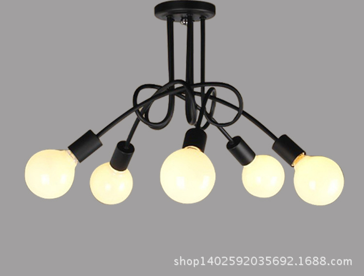 Nordic Vintage 3 5 Light LED Edison Chandelier Metal Black White Light Pendant Ceiling Lamp Coffee Shop Club Store Restaurant nordic vintage chandelier lamp pendant lamps e27 e26 edison creative loft art decorative chandelier light chandeliers ceiling