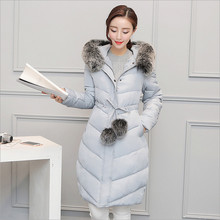 2017 new winter coat and long sections thick padded knees Korean women Nagymaros collar down cotton jacket Slim fashion