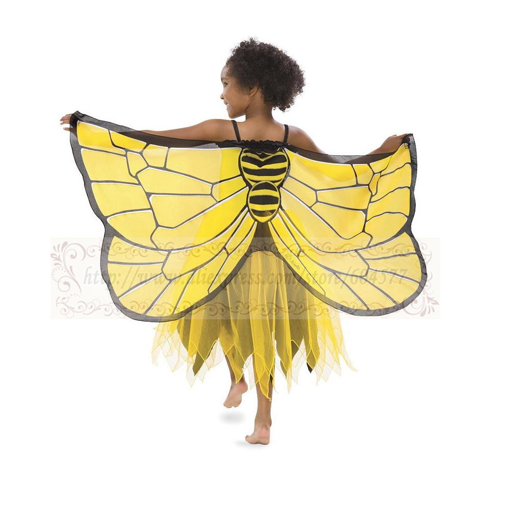 Fanciful Fabric Bumblebee Wing Girls Costumes for Halloween Dress Up Clothes, Pretend Play