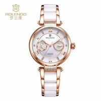 Rolendo 2018 женские модные кварцевые часы Лакшери женские часы керамические многофункциональные женские наручные часы Relogio Feminino
