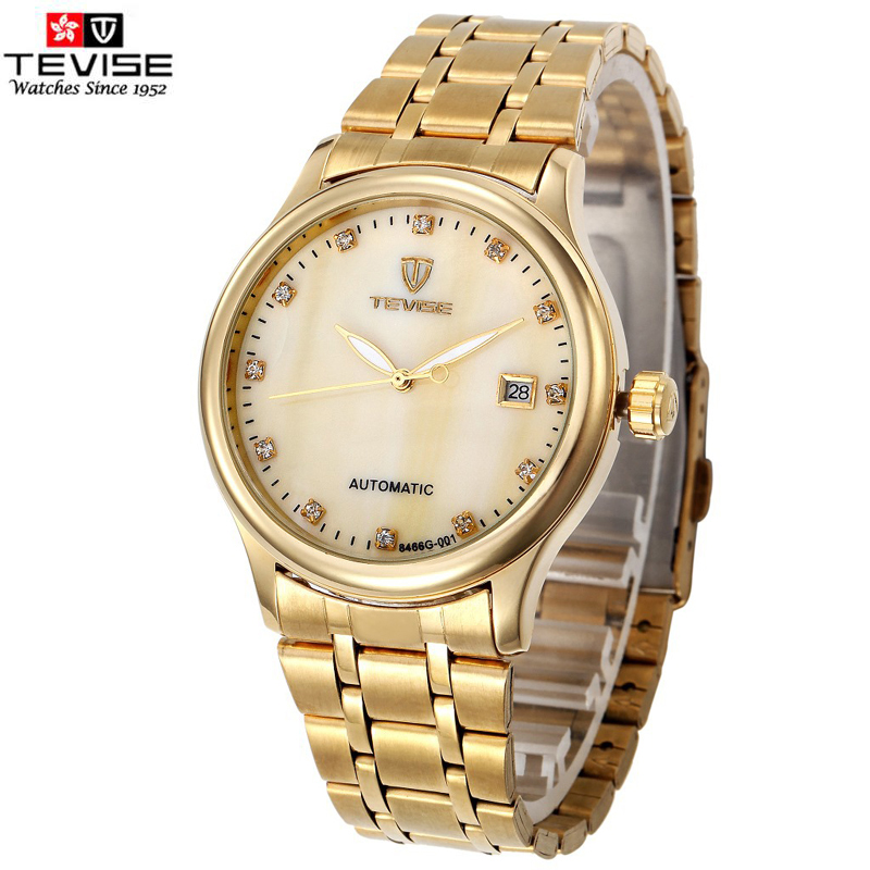 TEVISE Brand mechanical watches men casual waterproof wristwatch Stainless Strap chronograph band Gold watch male Clock